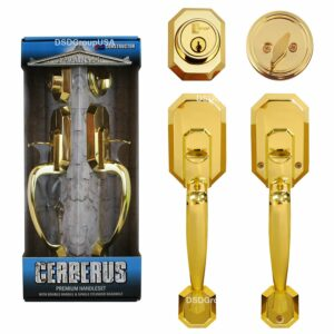 """Cerberus"" Entry Hand Set Door Lock Lever,  Polished Brass Finish, Door Lock Lever Handle Set - DSD Brands"